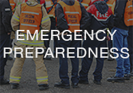 Image: construction workers with the words emergency preparedness, click to access the on-demand emergency preparedness videos