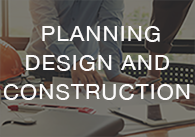 Image: architect working with the words planning, design and construction, click to access the on-demand planning, design and construction videos